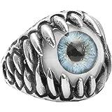 PAURO Men's Stainless Steel Dragon Claw Evil Skull Eyeball Ring Gothic Biker Unique Gray Eyes Size 12
