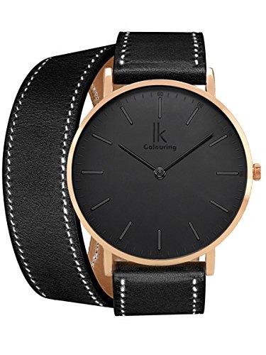 Watch Wrap Double (Alienwork IK Wrap2 Quarz Armbanduhr Ultra-flach Uhr Damen Uhren Herren Doppel Wrap Leder schwarz 98469CL-07)
