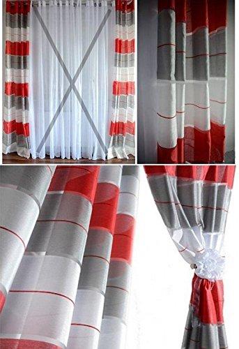 Aembe - occhielli velo semitrasparente - set - top design - moderni - 2 impiccagioni in un pacchetto - rosso / bianco / grigio - la più alta qualità