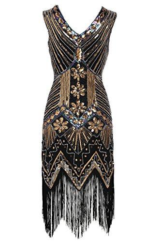 Babeyond Damen Flapper Kleider voller Pailletten Retro 1920er Jahre Stil V-Ausschnitt Great Gatsby Kostüm Kleid (Größe M / UK12-14 / EU 40-42, Gold)