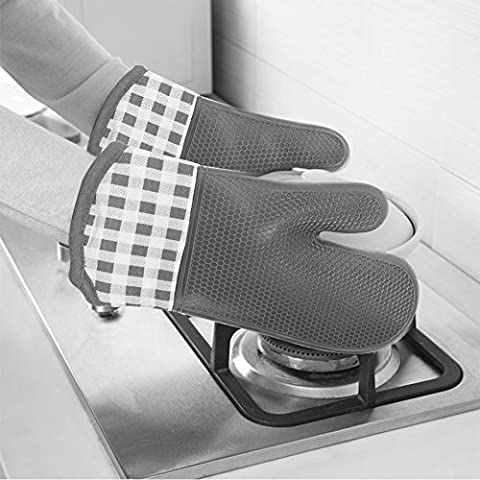 LanLan Silicone Oven Mitts Heat Resistant Oven Gloves Cotton Liner for Extra Protection 1 Pair Red