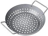 Rustler Grillschale rund aus Eisenstahl mit Antihaftbeschichtung | Grillpfanne in Steinoptik | Grillkorb für Gemüse Fisch oder Meeresfrüchte | 28 x 22,5 x 7cm | für Holzkohle-, Gas- und Elektrogrill