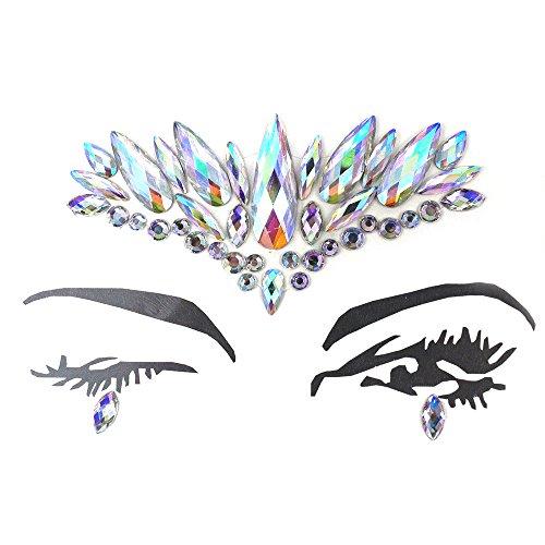Anself Gesicht Körper Kunst Aufkleber Kristall Glitter Juwelen Auge Tattoo Aufkleber Make-up Dekorationen für Festival - Tattoos Juwelen