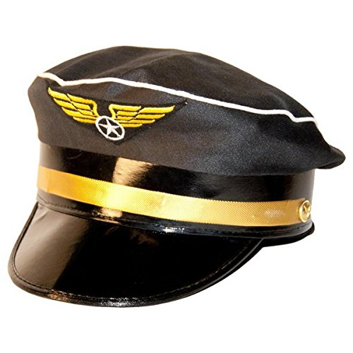 Folat Piloten-Hut (Kostüm) mit blauem und goldenem Band