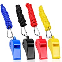 IKR 4 Packs Plastic Whistles With Lanyard Set For Coach Referee Sports Match Survival Emergency 4 Colors Black Blue Yellow Red