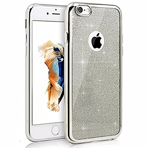 iPhone SE 5 5S Coque, Bling Glitter détachables Ultra-Thin Electroplating Soft Technology Gel Silicone TPU Retour Housse Coque pour iPhone SE iphone 5 5S [Sivler]
