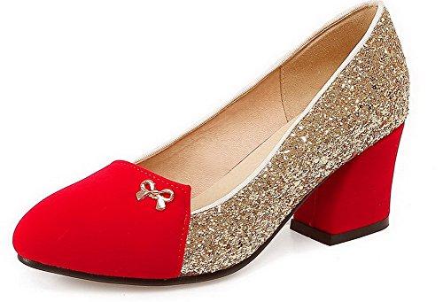 VogueZone009 Damen Pu Leder Gemischte Farbe Ziehen Auf Rund Zehe Mittler Absatz Pumps Schuhe Rot