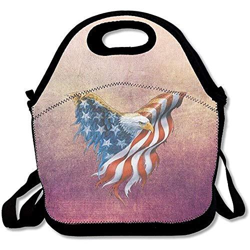 CHI American Eagle praktische große und Dicke Neopren-Lunch-Taschen, isolierte Lunch-Tasche, Kühltasche, warm, mit Schultergurt, für Damen, Teenager, Mädchen, Kinder, Erwachsene -