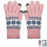ECOMBOS Touchscreen Handschuhe Damen - Frauen Winter Warm Handschuhe Touch Screen Fäustlinge mit Fleecefutter, Weihnachten Geschenke für Damen Mädchen, Schnee-rosa, Einheitsgröße