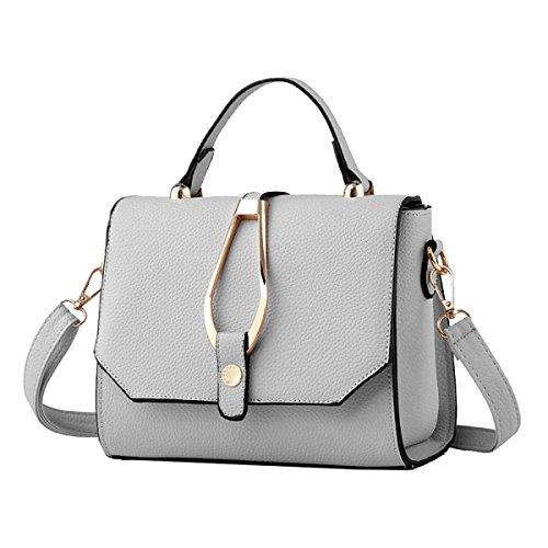 Yy.f Neuer Frauenschulterbeutel Einfarbig Mode-Taschen Handtaschen Explosion Modelle Art Und Extrinsische Intrinsische Und Praktisch Multicolor Grey