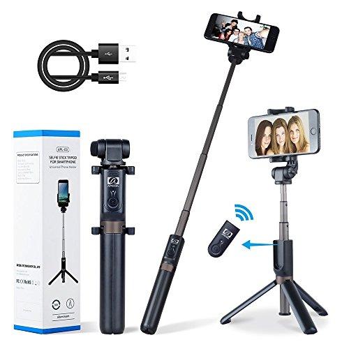 Treppiedi Bluetooth Stick Selfie con telecomando Remote, APEXEL Mini Selfie Pocket Telescoping Monopod Bastone 360 ° Rotazione Selfie Stick Tripod per iPhone 6 6s 7 Galaxy 7plus Samsung