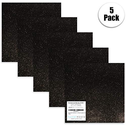 StyleTech x Turner Moore Edition Vinylfolien, 30,5 x 30,5 cm, Schwarz mit Glitzereffekt, für Maker, Silhouette, Cameo, Aufkleber, Scrapbooking, Glas, Tassen, 5 Stück