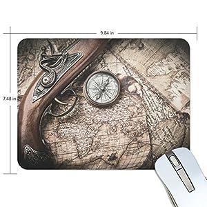 ZZKKO – Alfombrilla antideslizante para ratón de goma, diseño de mapa antiguo de Steampunk, 22,86 x 19,05 cm