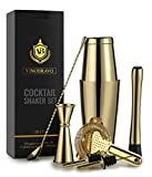 Boston cocktail shaker bar set by Vinobravo: 510,3 gram & 793,8 gram shaker Tins, Hawthorne cocktail strainer, cucchiaio, misurino doppio, 30,5 cm, colore 17,8 cm drink pestello e ricette (argento) Gold