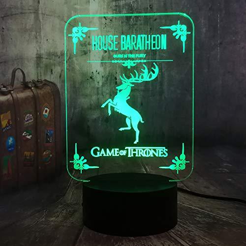 WangZJ 3d Nachtlicht für Kinder / 3d Illusion Nachtlicht/Halloween Geburtstagsgeschenk/Wohnkultur/Touch-Taste/ein Lied von Eis und Feuer