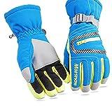 Ebilun SkiHandschuhe Winter Warm Anti-Rutsch wasserdicht Ski Snowboard Kinder Eltern Finger Handschuhe für Skifahren Snowboard Angeln Snowmobile M Blau