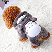 3°Amy pet clothes Warm Coats Warm Soft Fleece Pet Dog Cat Clothes Cartoon Puppy Dog Costumes Autumn Winter Clothing For Small Dogs Outfits #L821 (Color : Gray, Size : XS)