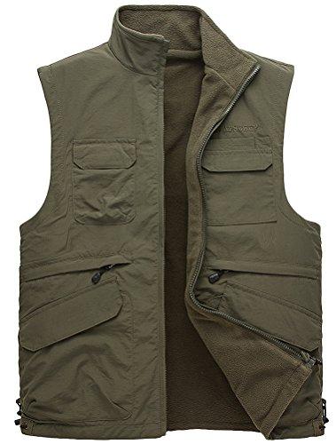 MatchLife Hommes Veste Sans Manches Gilet de Maille Respirant Multi Poches Gilet de Pêche Style3-Armée Verte