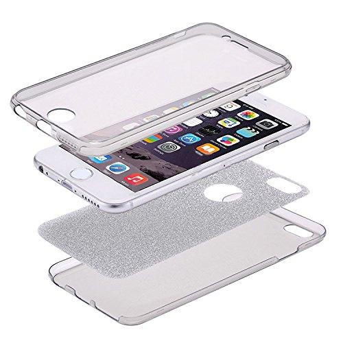 Coque iPhone 7 Plus,Étui iPhone 7 Plus,iPhone 7 Plus Case,ikasus® Coque iPhone 7 Plus Étui de protection complet avant + arrière 360 degrés Étui en silicone souple Bling Pétillant Brillant Briller Hou Briller:Argent