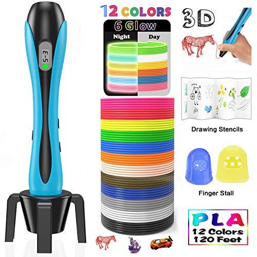 Stylo 3D Lovebay【2018 Nouvelle Version 】3D Professionnel Pen Set Stylo d'Impression 3D avec Ecran LCD+12 Multicolores Filament PLA...