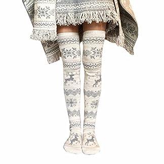 WARMWORD Mujer Navidad Muslo Medias largas Copo de Nieve Calcetines de Alce Tubo Medio Espesar Tejer sobre la Rodilla Calcetines Navidad Señoras Invierno Estiramiento Calcetines De La Rodilla