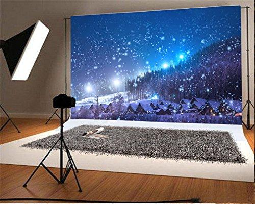 YongFoto 2,2x1,5m Foto Hintergrund Weihnachten Dorf Nachtansicht Bäume, die glänzende Lichter Blauer Himmel schneien Winter Weihnachten Fotografie Hintergrund Photo Party Kinder Hochzeit Fotostudio