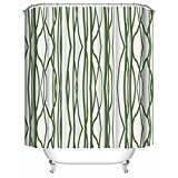 HUIYIYANG Kundenspezifischer Duschvorhang, grüne Abstrakte Streifen-weißes Einfaches Kunst-Entwurfs-Wasserdichter Anti-Mehltau-Gewebe-Polyester-Badezimmer-Duschvorhang48 x 72