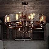 JYYJTDD Hängeleuchte Kronleuchter Kronleuchter Pendelleuchte Vintage Industrial Creative Eisen Deckenleuchten 12 Lampe für Hotel Wohnzimmer Schlafzimmer LOFT Style Retro Dekorieren...