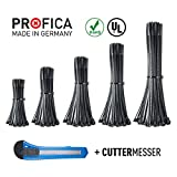 Kabelbinder Set Schwarz Profica 500 Stück Industriequallität 100 / 135 / 160 / 200 / 290 mm