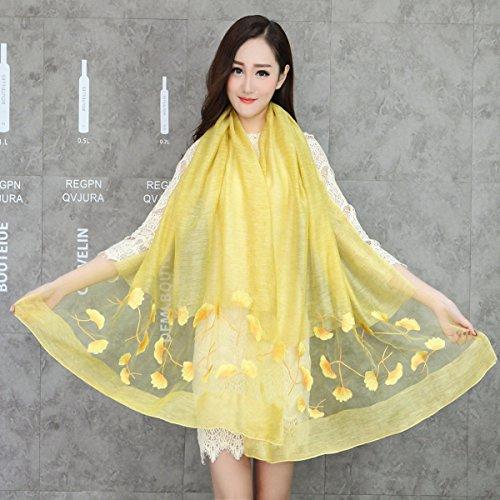 LIAN Seidenschals Seide Stickerei Schals Blended Sonnencreme Klimaanlage Schal Schals,Yellow