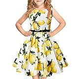 Idgreatim Little ragazzas Vestito Senza Maniche Flower Vestito Summer Casual Vestito con Cintura per Le Ragazze Toddler
