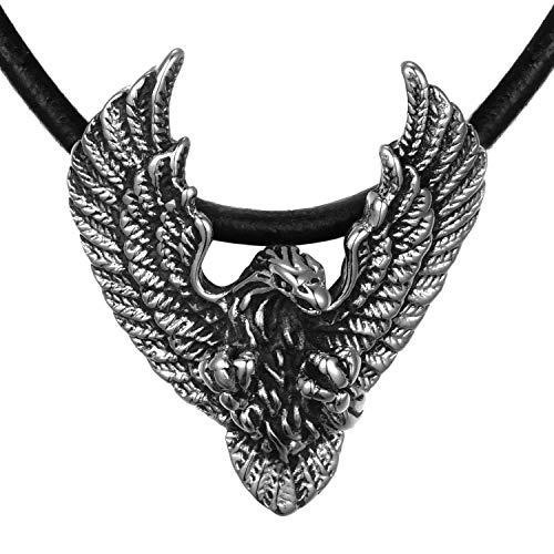 DonDon Herren Leder Halskette 50 cm Edelstahl Adler Anhänger im Schmuckbeutel