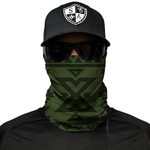 Sa fishing company, passamontagna, bandana, scaldacollo per sciare, andare in motocicletta, da utilizzare anche come maschera per halloween, aztec dark olive green