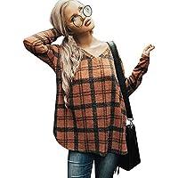 Hanomes Damen pullover, Damen Plaid V-Ausschnitt Langarm Sweatshirt Pullover Tops Bluse preisvergleich bei billige-tabletten.eu