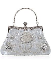 686e8ea682 Dabixx stile vintage in rilievo floreale sera pochette festa di nozze Prom  borsetta borsa grigio,