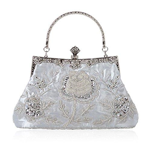 Perlen Abendtasche-clutch (Cuigu Abendtasche - Perlen Floral Clutch Bag, Bankett Tasche Retro Handtasche für Party Hochzeit Prom Abendveranstaltungen, für Damen (Silber))
