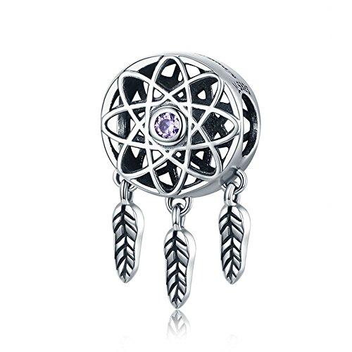 Atrapasueños de plata de ley 925, diseño de atrapasueños, ideal para pulseras y collares