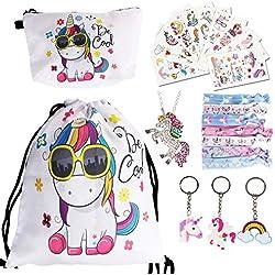 URAQT 23PCS Lindo Unicornio Mochila con cordón/ Bolsa de Maquillaje / Llavero / Collar / Unicornios de Pelo Corbata / Unicornio Tatuaje Pegatina para Regalo de Fiesta de cumpleaños, Bianca