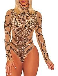 COSIVIA Sexy Body Femme Strass Bustier Faux Maille Manches Longues Bodysuit  Justaucorps Débardeur 3e436b4a381