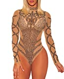 COSIVIA Damen Body Strass Bustier Sheer Mesh Lange Ärmel Bodysuit Leotard Top Overalls (Khaki Schwarz, S)