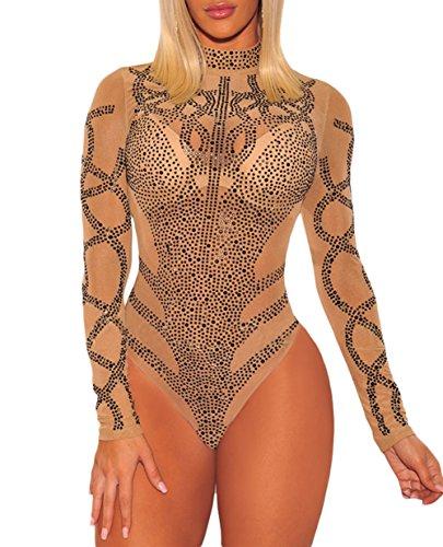 COSIVIA Damen Body Strass Bustier Sheer Mesh Lange Ärmel Bodysuit Leotard Top Overalls (Khaki Schwarz, M) -