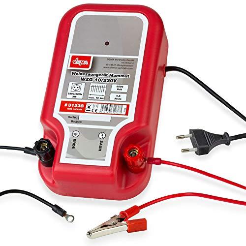 Weidezaungerät Mammut WZG 10-230V - klein und kompakt - Kontrollanzeige für Gerätefunktion - Einfacher Anschluss, Zaun-, und Erdkabel inklusive