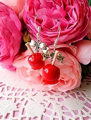 Boucles d'oreilles pomme d'amour bijoux gourmands fimo