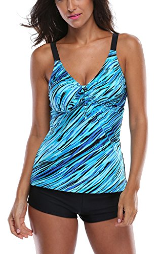 Attraco Womens Tankini Set Soft Elastic Swimsuits With Boyshort Bottoms for Women Blue 14
