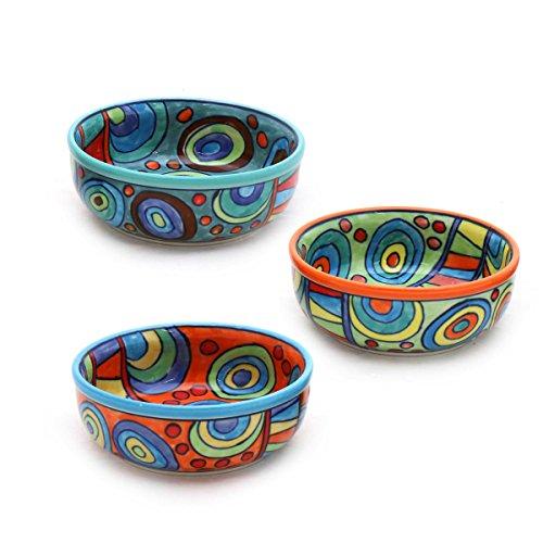 Schale Set/3 Müslischale Dessertschale Schüssel Geschirr Keramik farbig bunt Dekoration Orange Grün Blau- Gall&Zick -
