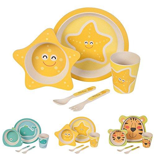 BIOZOYG Set da Cucina in bambù per Bambini da 5 Pezzi Motivo: Fata Stella del Mare I Servizio da tavola per Bambini Ciotola Muesli Bicchiere Piatti Bambini I Riciclaggio Materiale Senza BPA