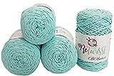 ReTwisst 1000 Gramm Textilgarn, 4 x 250Gramm Jersey- Garn, gesamt ca. 720m Lauflänge, Stoffgarn, Kordelgarn, Auswahl (Mint 2)