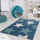 Teppich Kinderzimmer Mädchen Jungen | Fröhliche Schmetterling Blumen Sterne Motive für das Jugendzimmer | Öko Tex 100 Schadstoffgeprüft, allergikergeignet (Blaue Sterne - 80 x 150 cm)
