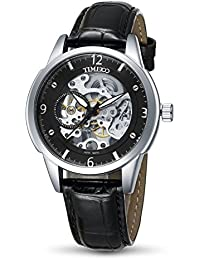 Time100 Men Skeleton Automatic Mechanical Sub-dail Stopwatch Genuine Leather Strap Men's Multifunction Watch Brown&Black