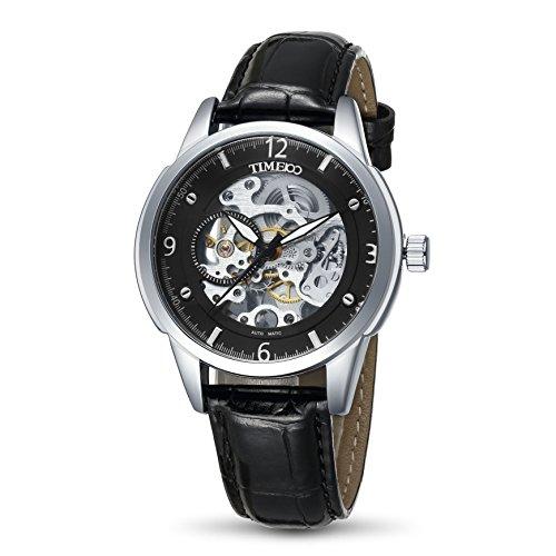 Time100 orologio uomo da polso meccanico scheletrato cinturino in pelle#w60059g.03a